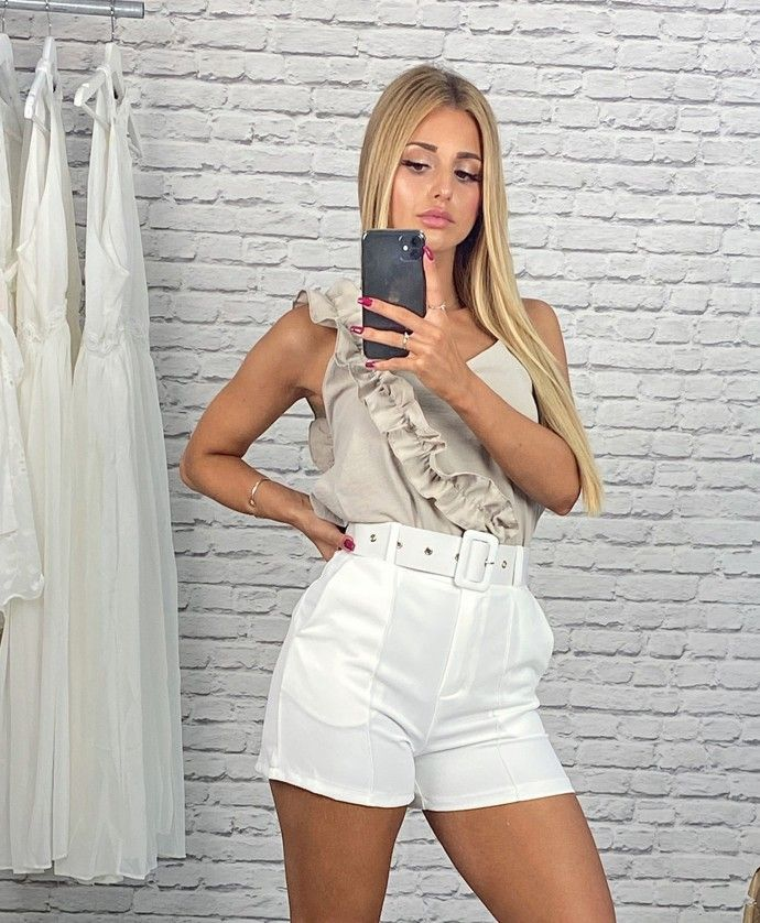 White shorts with raised waist with 2 pockets GILDA