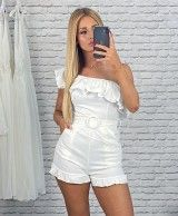 Short white overalls with frills ISABEL