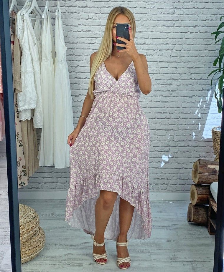 Assimetric licac dress with floral printing ADRIANA