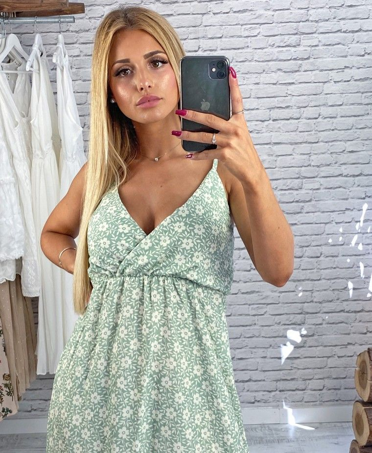 Assimetric green dress with floral printing ADRIANA