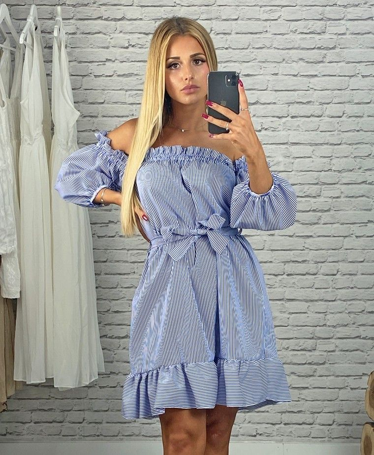 Short blue-stripped dress with loop DIANA