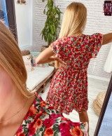 Short red dress with floral stamping EVA