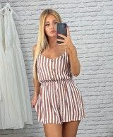 Short overalls with brown stripes JOANA