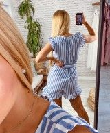 Short overalls with blue stripes IARA