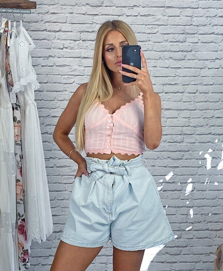 Pink crop top with lacy buttons CELESTE