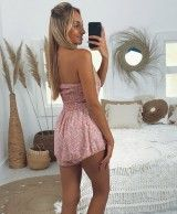 Short rose overall with skirt-shorts effect BIANCA
