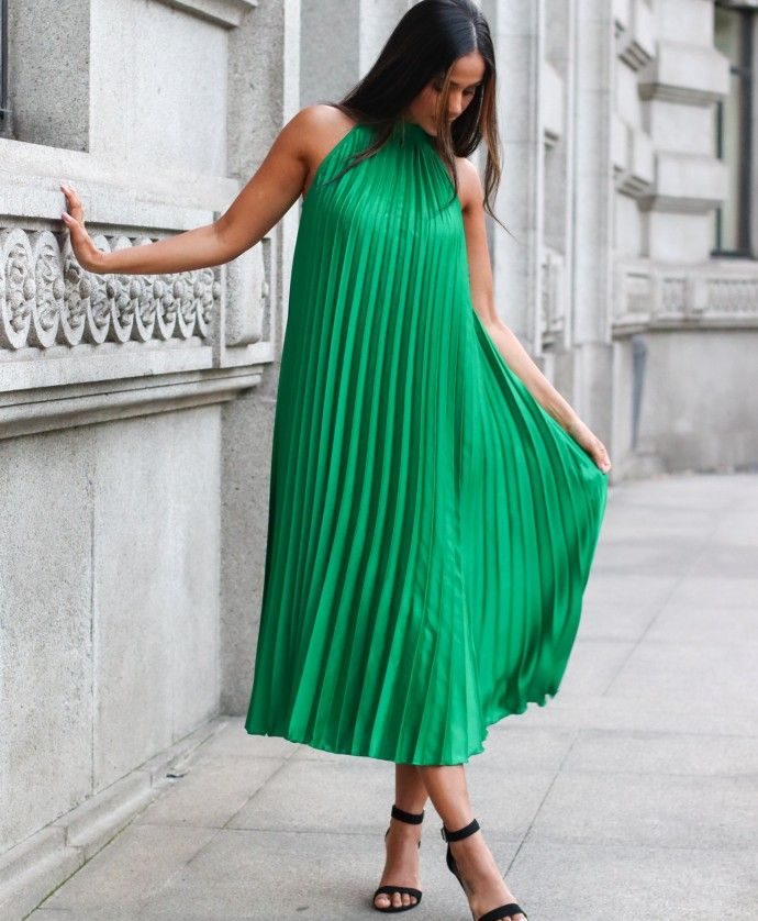 FORNEY GREEN PLEATED DRESS