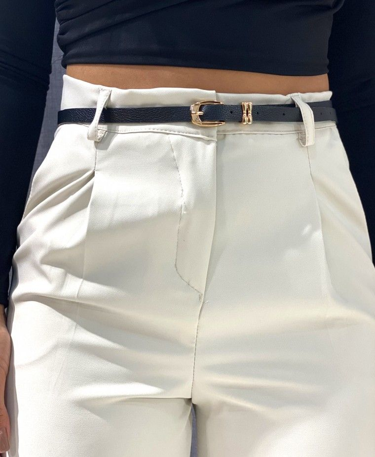 STRAIGHT TROUSERS WITH COLUMBIA BEIGE BELT